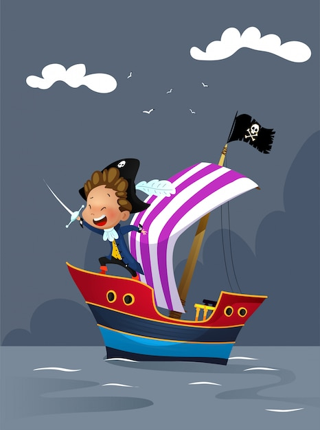 Pirates on ship in the sea illustration Premium Vector