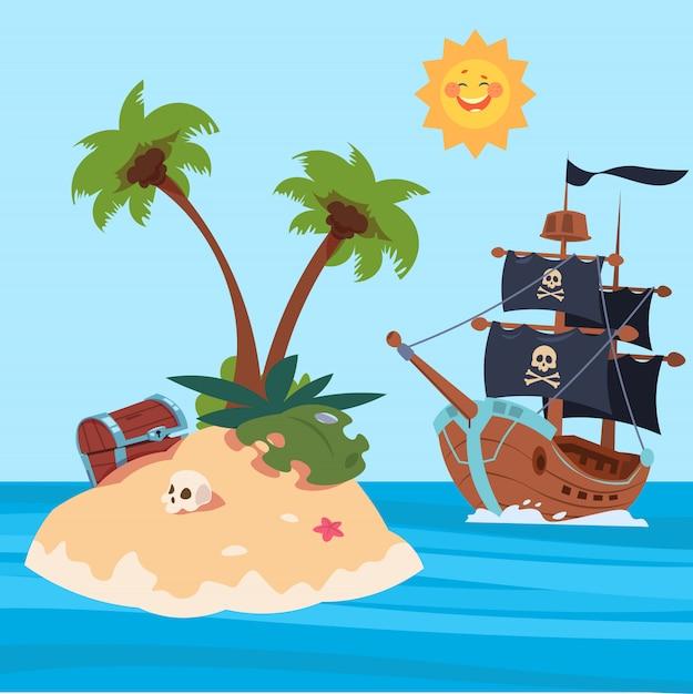Pirates ship and treasures island vector illustration Premium Vector