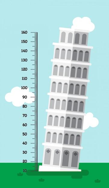 Pisa.illustrationの塔のあるメーターの壁 Premiumベクター