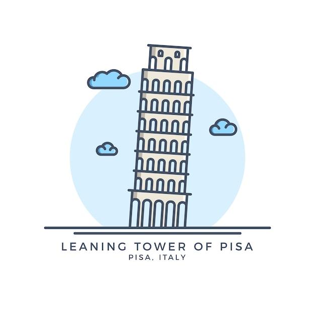 Pisa tower icon Premium Vector