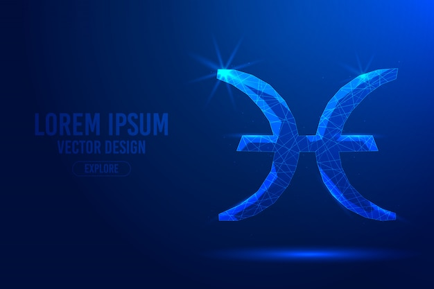 Pisces twelfth zodiac sign abstract background. linear and polygonal 3d concept of horoscope, celestial constellation. Premium Vector