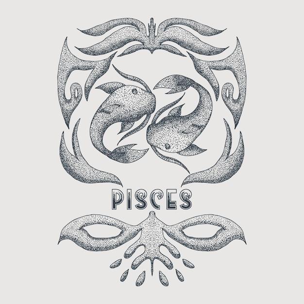 Pisces vintage decoration vector illustration Premium Vector