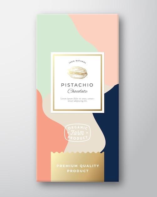ピスタチオチョコレートラベル。 無料ベクター
