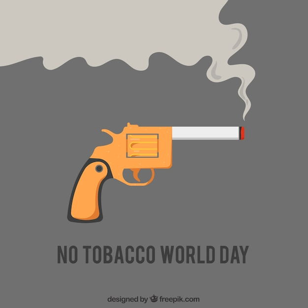 Pistol background with lit cigarette Free Vector