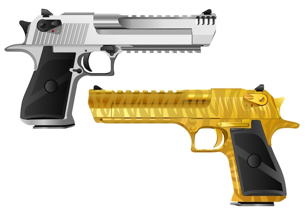 Pistol models of different color types Premium Vector