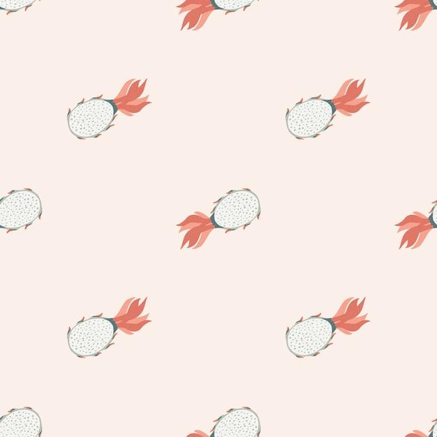 밝은 파스텔 핑크 톤의 Pitahaya 원활한 낙서 패턴. 여름 음식 프리미엄 벡터