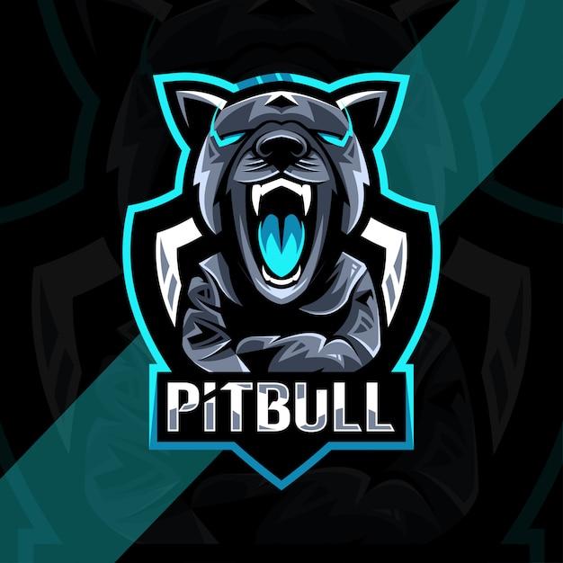 Pitbull angry талисман логотип киберспорт дизайн Premium векторы