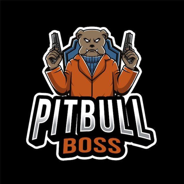 Pitbull boss esport logo Premium векторы