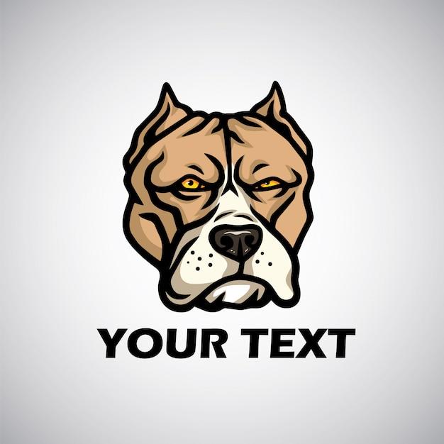 Pitbull head logo vector illustration icon emlem template Premium Vector