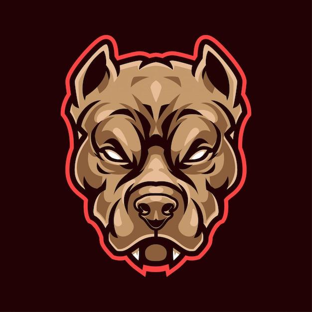 Pitbull mascot logo Premium векторы