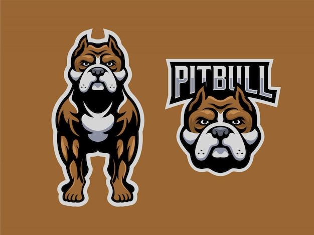 Pitbull установить логотип талисман Premium векторы