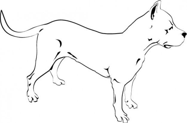 Pitbull собака рисунок значок вектора Бесплатные векторы