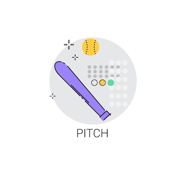 Pitch bat sport game icon vector illustration Premium Vector