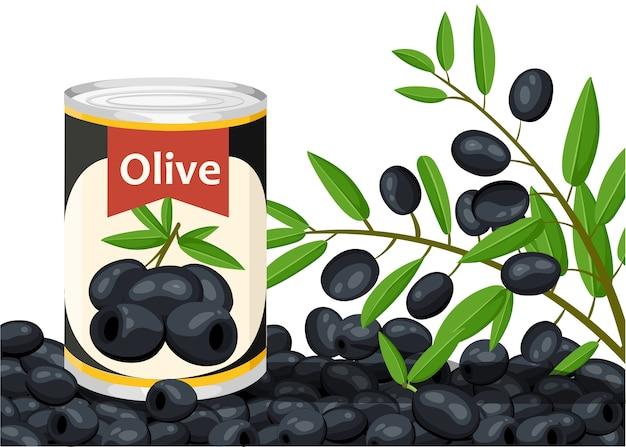 Черная маслина без косточек в алюминиевой банке. консервированные оливки с логотипом ветки. товар для супермаркета и магазина. иллюстрация на белом фоне. Premium векторы