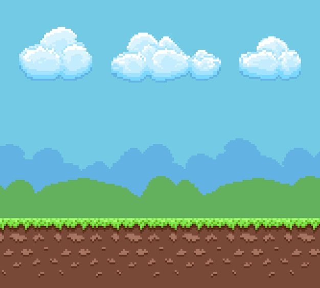 Pixel 8 bit game background with ground and cloudy sky panorama. Premium Vector