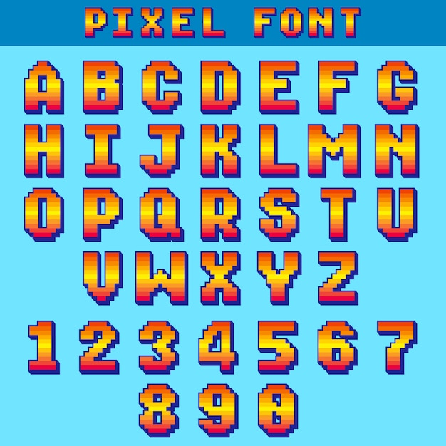 Pixel 8 bit letters and numbers vector game font Premium Vector