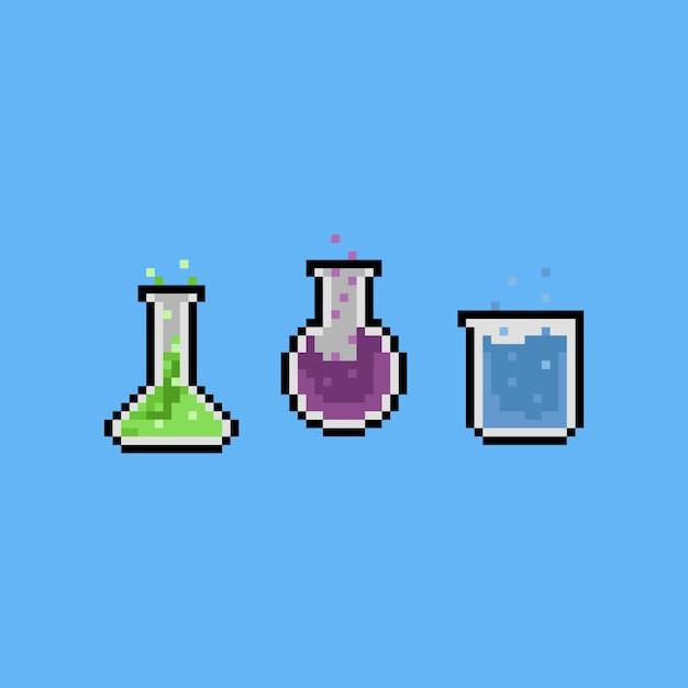 Premium Vector Pixel Art 8bit Chemical Set