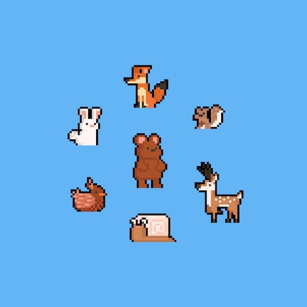 Pixel art autumn cartoon animal set.8bit. Premium Vector