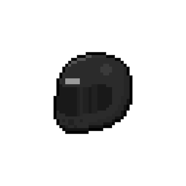 Premium Vector Pixel Art Black Helmet Icon Design