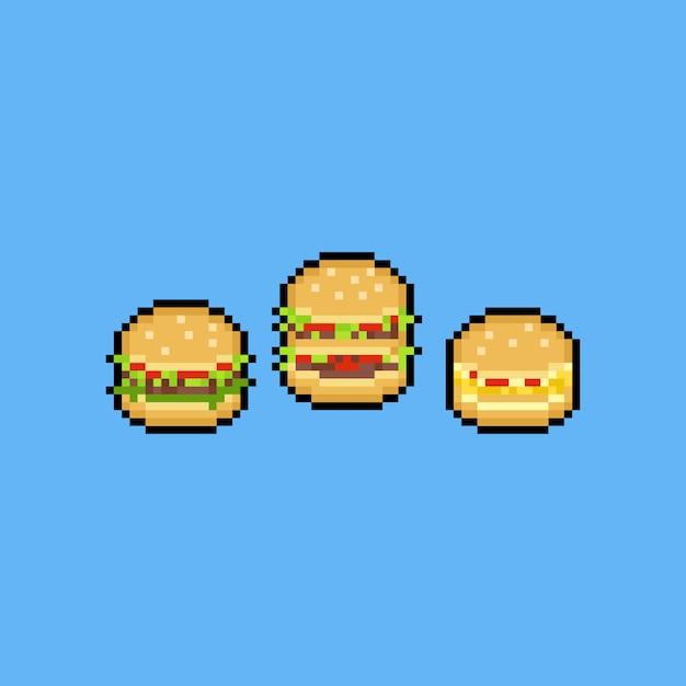 Premium Vector Pixel Art Burger Icon Set