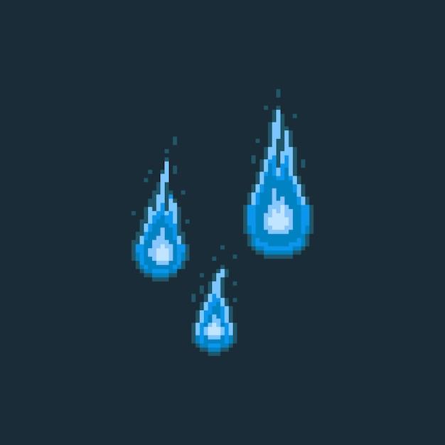 Pixel art cartoon 8bit fire spirit cartoon set. Premium Vector