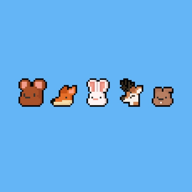 Pixel art cartoon animal icon set. 8bit. autumn. Premium Vector