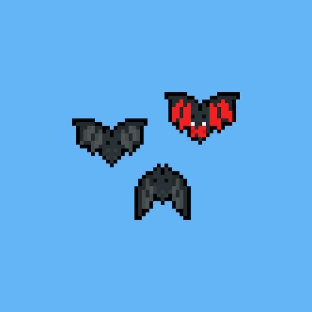 Pixel art cartoon bat characters. 8bit. halloween. Premium Vector