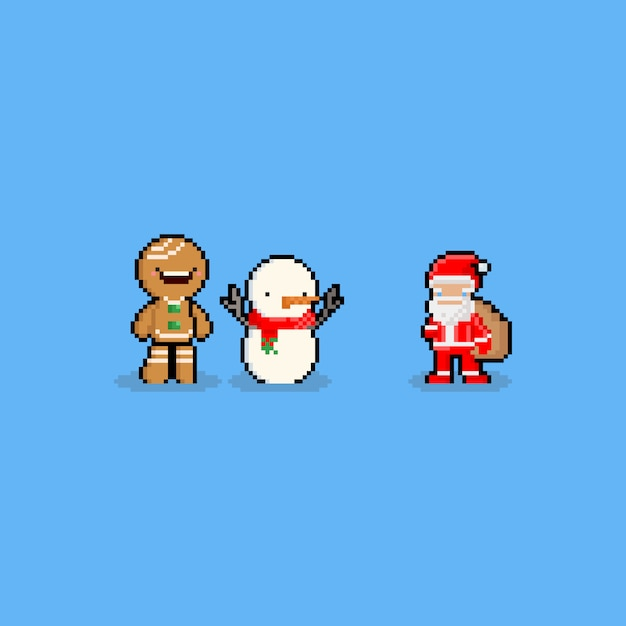 Pixel Snowman With Red Ribbon Vector Premium Download