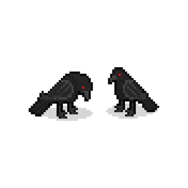 Pixel art cartoon crow characters. 8bit. halloween. Premium Vector