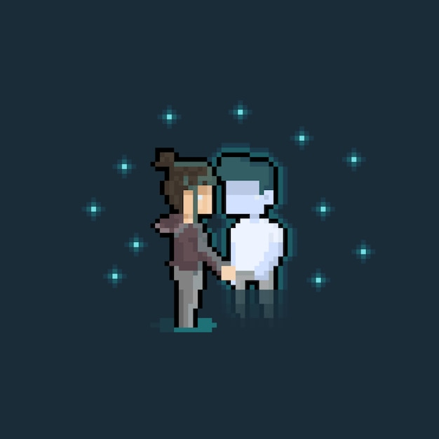 Pixel art cartoon crying girl and fading out ghost boy Premium Vector