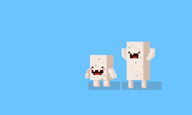 Pixel Art Cartoon Cube Monster Characters 8bit Vector