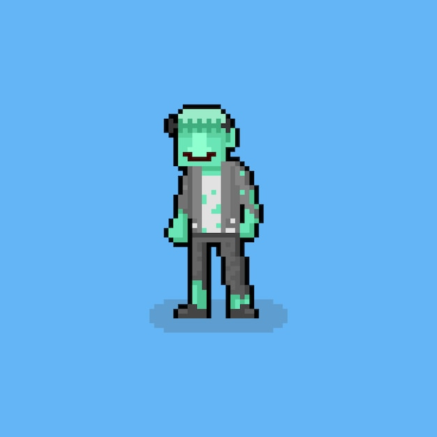 Pixel art cartoon frankenstein character Premium Vector