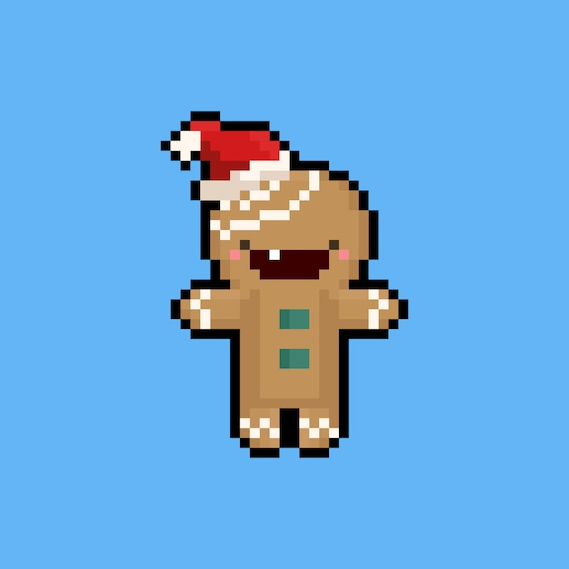 Pixel Art Cartoon Gingerbread Character With Christmas Hat