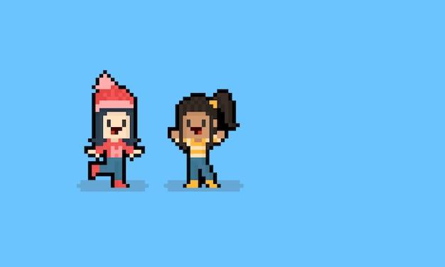 Pixel art cartoon girl autumn character. 8bit. Premium Vector