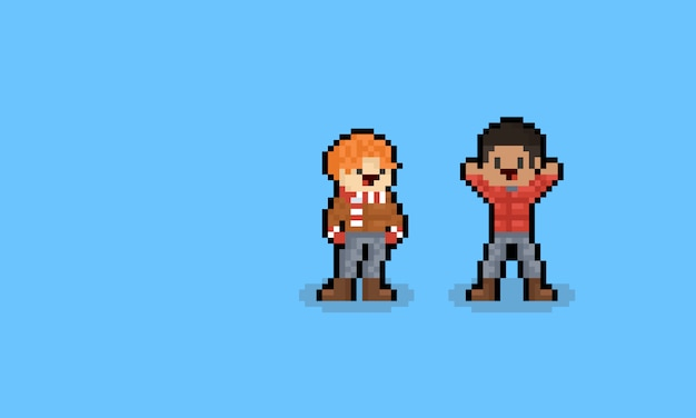 Pixel Art Cartoon Male Autumn Character 8bit Premium Vector