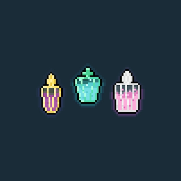 Pixel art cartoon potion icon set Premium Vector