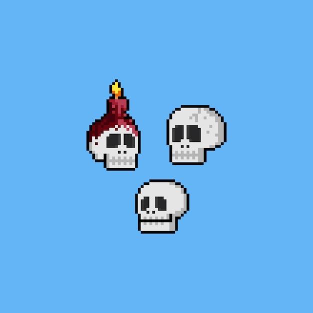Pixel art cartoon skull head icon set. halloween. 8bit. Premium Vector
