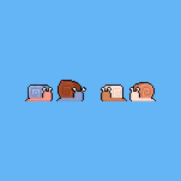 Pixel art cartoon snail icon set.8bit. Premium Vector