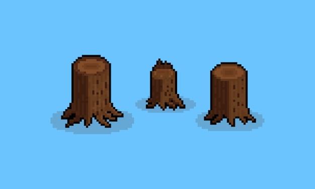 Pixel art cartoon stump set.8bit. Premium Vector