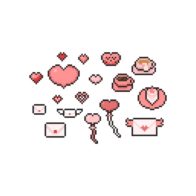 Pixel art cartoon valentine's day elements set. Premium Vector