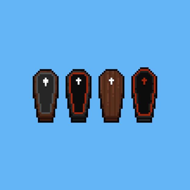 Pixel art cartoon wooden coffin set Premium Vector