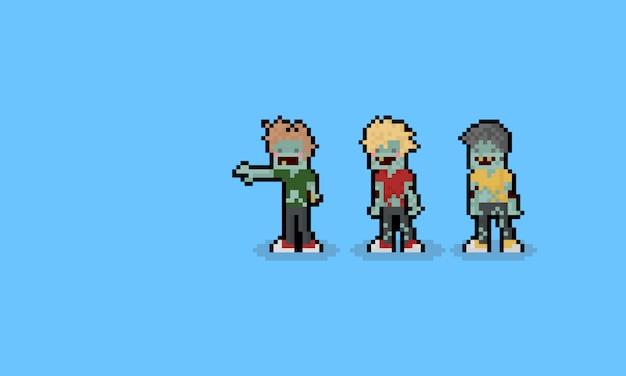 Pixel art cartoon zombie characters Premium Vector