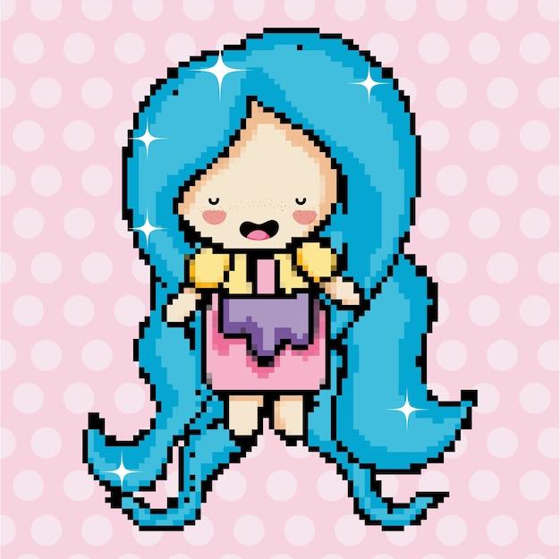 Pixel Art Cute Girl Character Cartoon Vector Premium Download