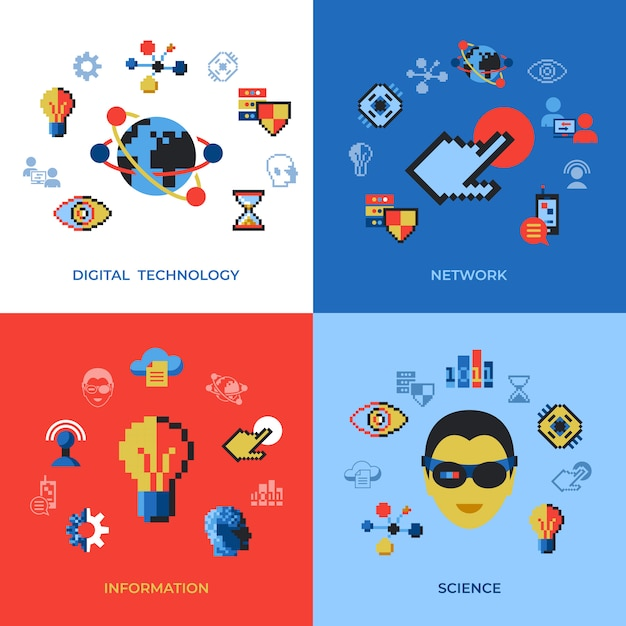 Pixel art digital technology and network icons set Premium Vector