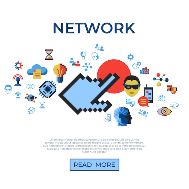 Pixel art digital technology and network icons set Premium Vector