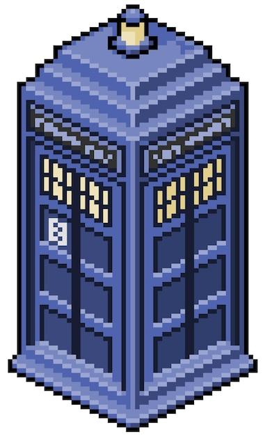 Пиксель арт английская телефонная будка бит игры Premium векторы