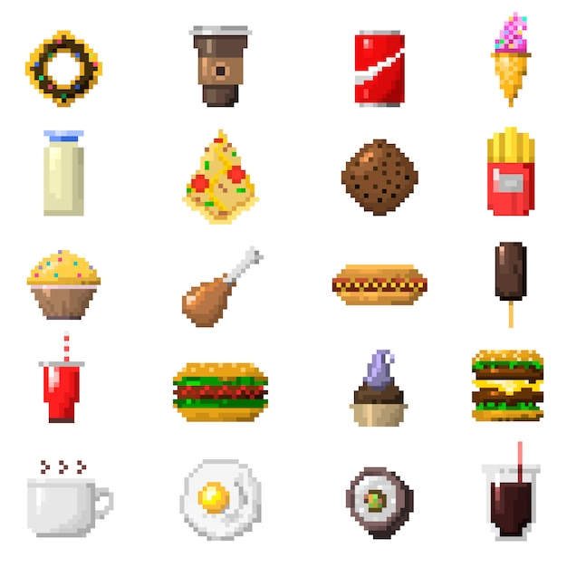 Premium Vector Pixel Art Food Icons