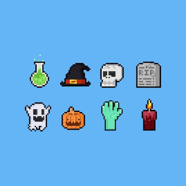 Pixel art halloween elements set Premium Vector