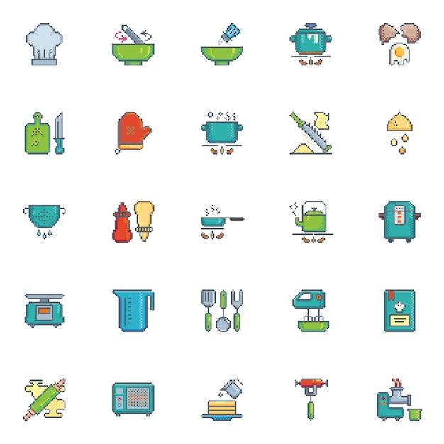 Pixel art icon kitchen utensil vector set Premium Vector