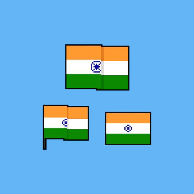 Pixel art india flag set Premium Vector